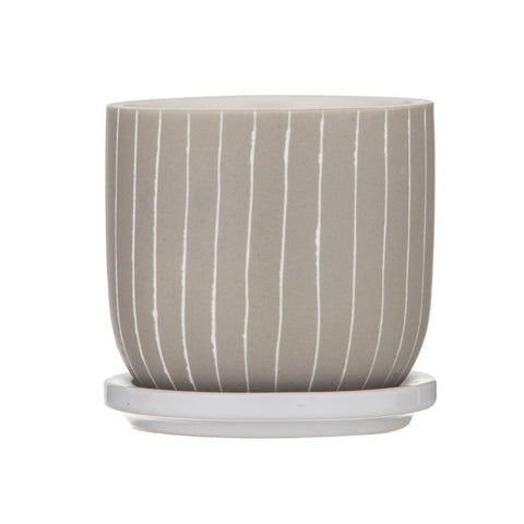 Esha Ceramic Pot with Saucer - Sand