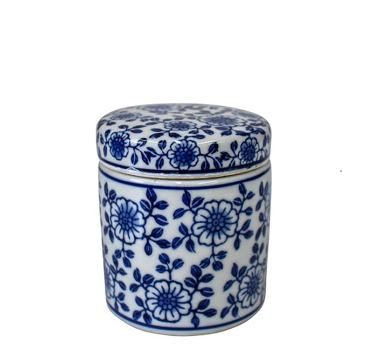 Fiore Blue & White Jar with Lid Hampton Style Interior