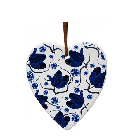Hanging Ceramic Heart - Blue Floral