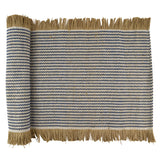 Jai Cotton Jute Table Runner - Denim/White