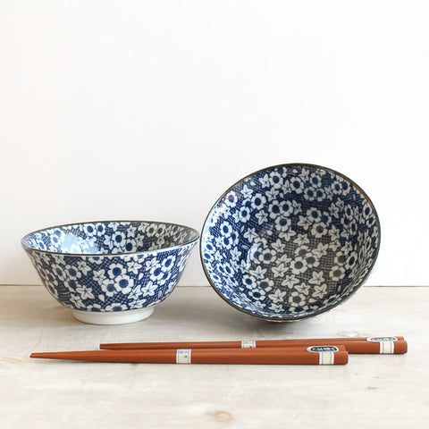 Japanese Bowls Set 2 with Chopsticks - Blue Daisy