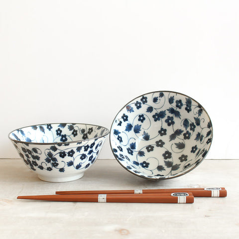 Japanese Bowls in set of 2 with chopsticks - Blue Vine