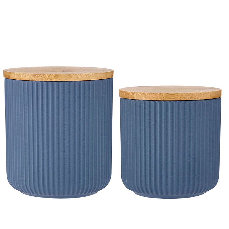 Blue Linear Ribbed Canister - 2 Sizes sold separately