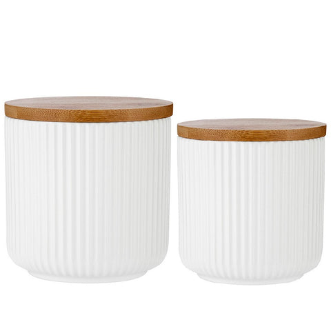 White Linear Ribbed Canister - 2 Sizes sold separately