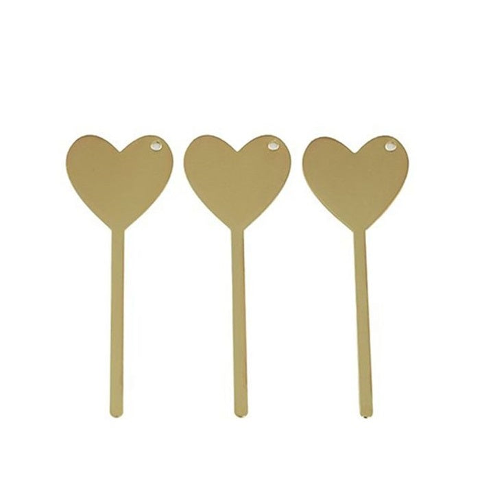 Metal Plant Label - Heart - Set of 3