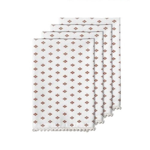 Mia Orange Pom Pom Napkins - Set of 4