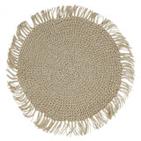 Woven Fringe Natural Placemats - Round