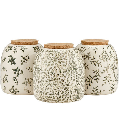 Repose Orbit Green Stoneware Canisters with Lids - Set of 3