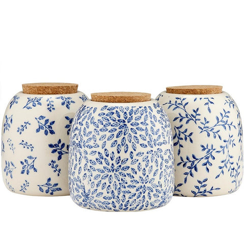 Repose Orbit Navy Stoneware Canisters with Lids - Set of 3