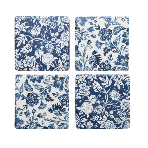 Coasters - Blue Flowers - Set of 4
