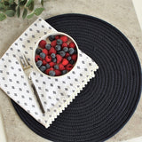 Placemat - Round Woven Cotton - Navy 38cm