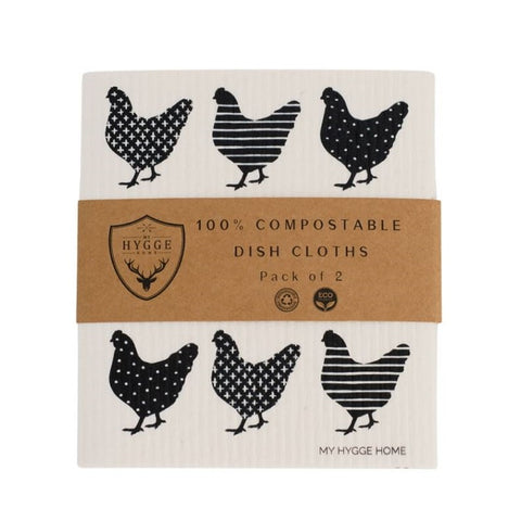 Dish Cloth - Charming Chooks - Set of 2