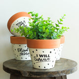 Terracotta Saying Indoor Pots - 4 Assorted Designs