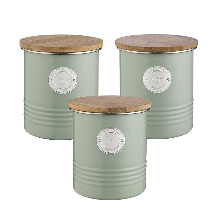 Typhoon Living Canisters - Sage Set of 3 Tea Coffee Sugar
