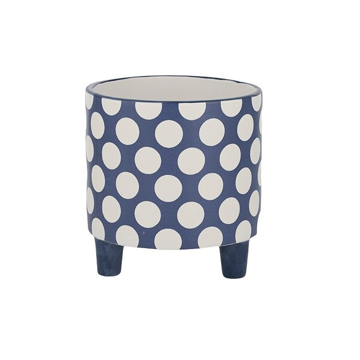 Ceramic Footed Planter - Blue & White