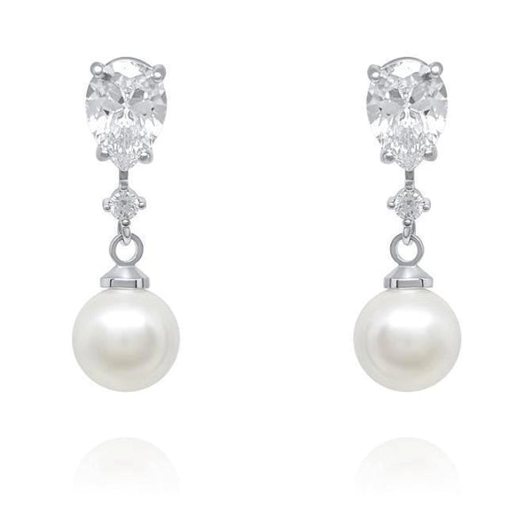 Anna Pearl and Cubic Zirconia Earrings - Olivier Laudus Wedding Jewellery