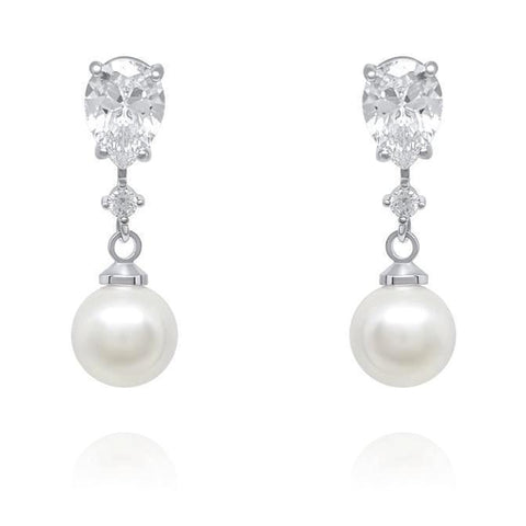 Anna Pearl and Cubic Zirconia Earrings-Pearl Drop Earrings-Starlet Jewellery