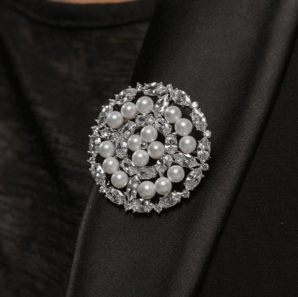 Starlet Pearl and Cubic Zirconia Brooch-Starlet Jewellery