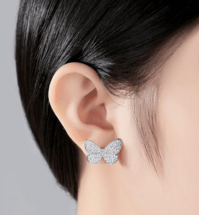 Butterfly Micro Pave Stud Earrings