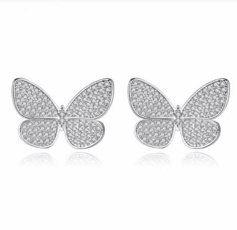 Butterfly Micro Pave Stud Earrings-Starlet Jewellery