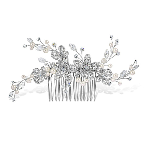 Adele Pearl and Diamante Hair Comb-Starlet Jewellery