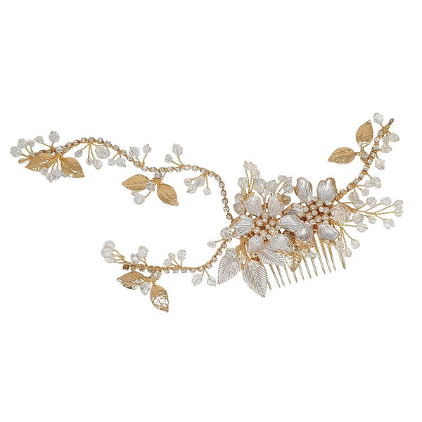 Alessia Gold Hand Wired Hair comb / Vine