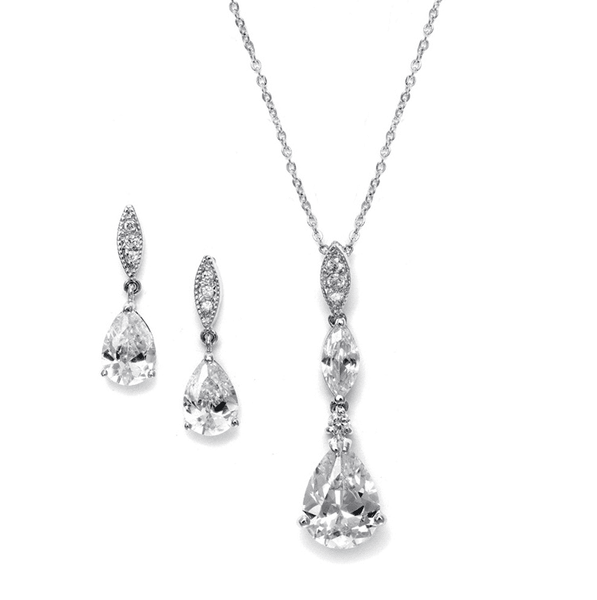 Alexa Simulated Diamond Pendant Set - Olivier Laudus Wedding Jewellery