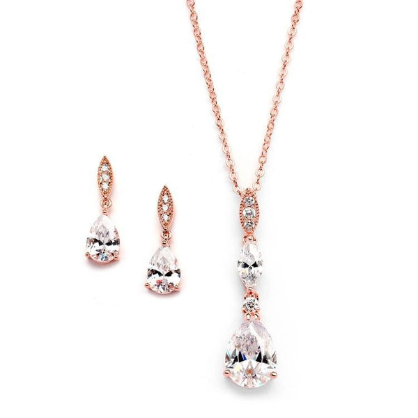 Alexa Rose Gold Simulated Diamond Pendant Set - Olivier Laudus Wedding Jewellery