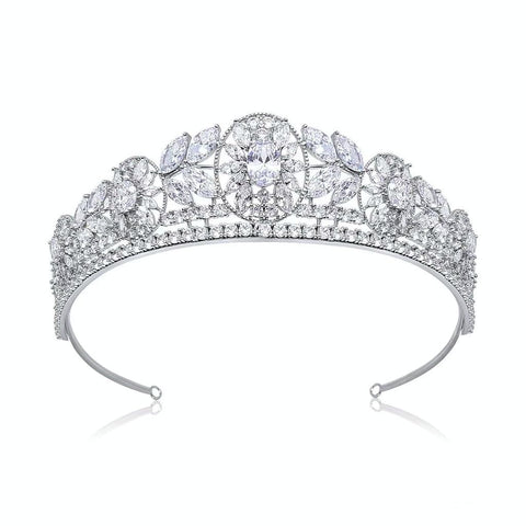 Alexandra Luxury Platinum Plated Tiara - Olivier Laudus Wedding Jewellery