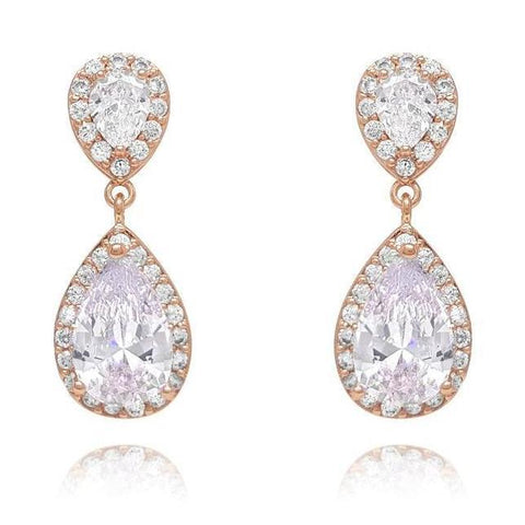 Amalia Rose Gold Cubic Zirconia Earrings-Earrings-Starlet Jewellery
