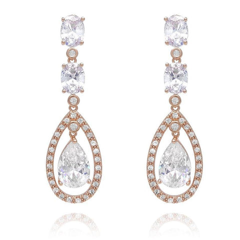 Amelia Rose Gold Simulated Diamond Earrings-Starlet Jewellery