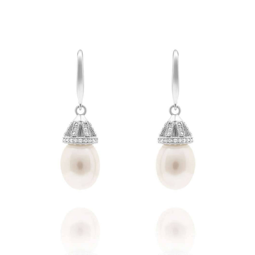 Arabella 925 silver Ivory Tahitian Freshwater Pearl Drop Earrings-Starlet Jewellery