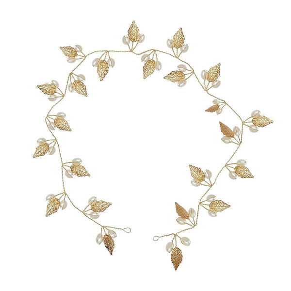 Autumn Gold Leaf Hair Vine (long version 41 inches)-Starlet Jewellery