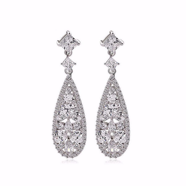 Carlton Cubic Zirconia Bridal Earrings-Starlet Jewellery