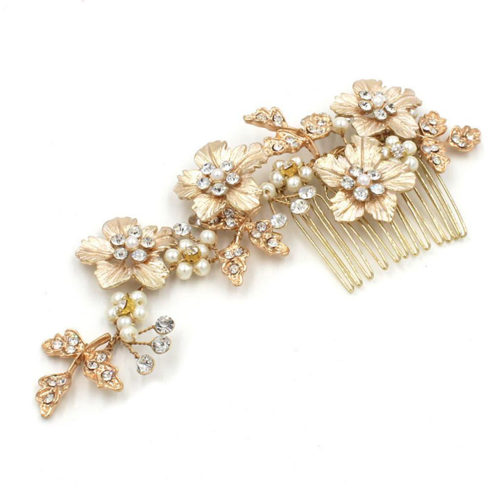 Cecilia Gold Hair Comb-Starlet Jewellery