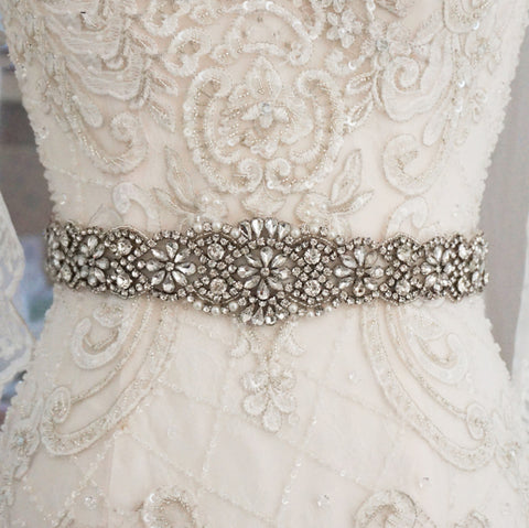 Cecilia Rose Gold pearl and Diamante Wedding Belt-Starlet Jewellery