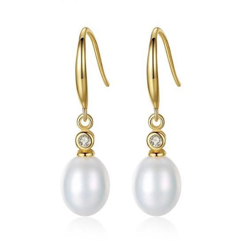 Charlie Gold Plated Freshwater pearl earrings-Starlet Jewellery