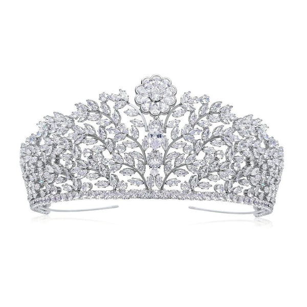 Charlotte Luxury Platinum Plated Tiara - Olivier Laudus Wedding Jewellery
