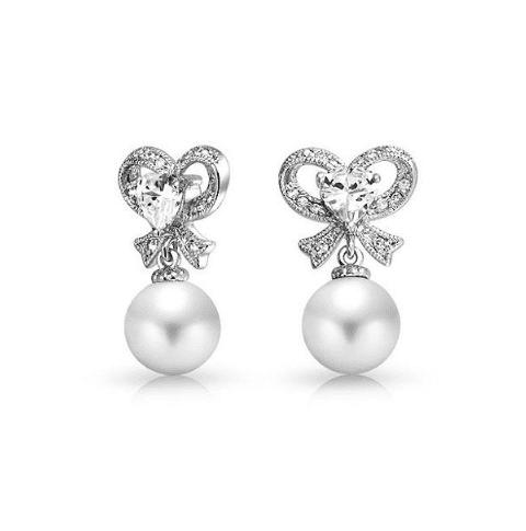 Charlotte Pearl and Cubic Zirconia Bow Earrings-Starlet Jewellery