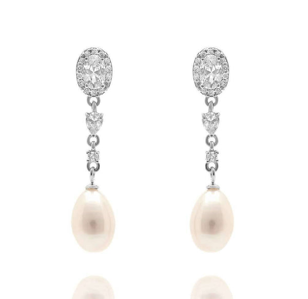 Clara 925 silver Ivory Freshwater Pearl and simulated diamond earrings-Starlet Jewellery