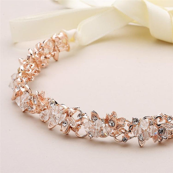 Clarence Flexible Swarovski Rose Gold Headband