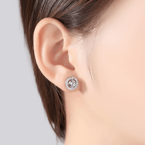 Elle Platinum plated Simulated Diamond Studs