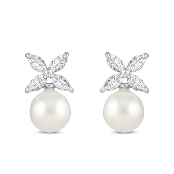 Fleur Pearl and Cubic Zirconia Earrings-Necklaces-Starlet Jewellery