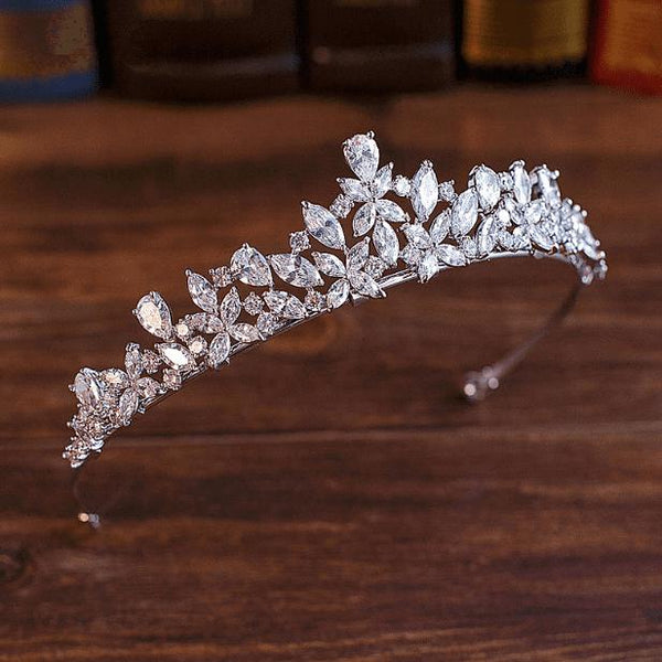 Flora Simulated Diamond Tiara