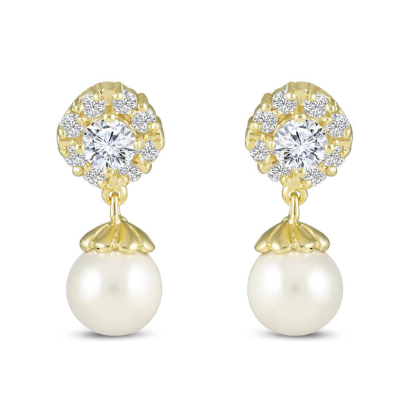 Geraldine Gold Pearl Earrings-Starlet Jewellery