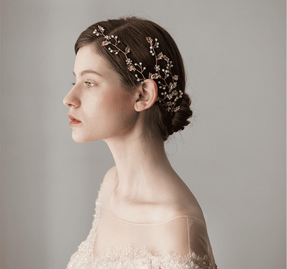 Gold Leaf Crystal Hair Vine-Starlet Jewellery