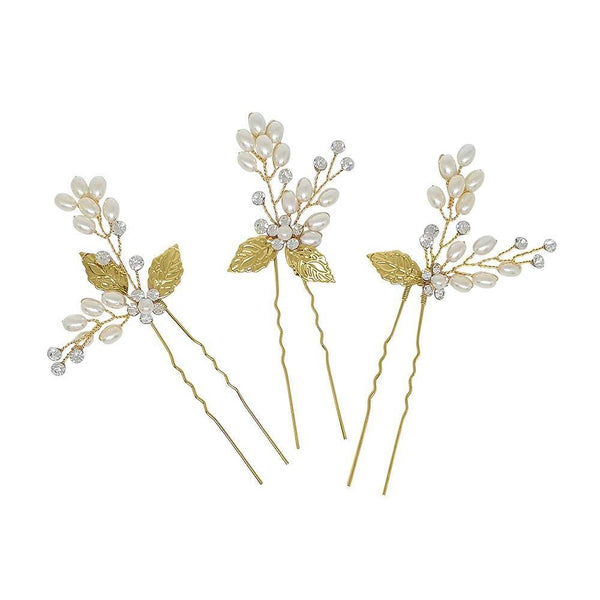 Aphrodite Gold Leaf Hair Pins-Starlet Jewellery