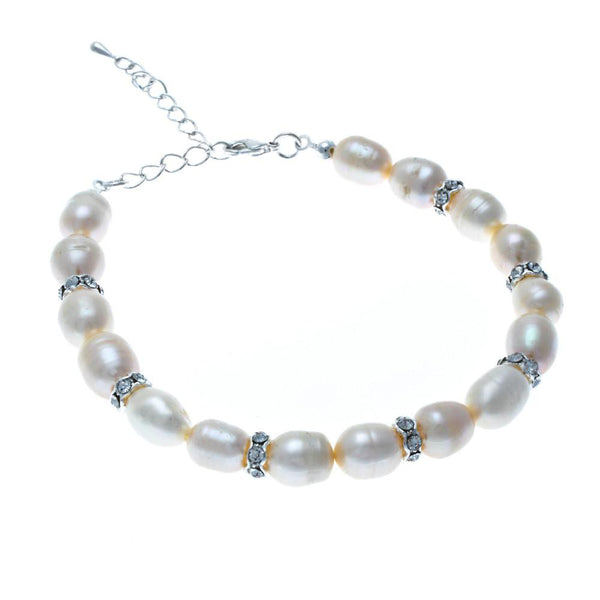 Grace Freshwater Pearl and Diamante Rondelles Bracelet-Starlet Jewellery
