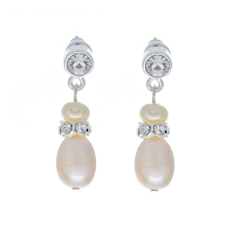 Grace Freshwater pearl and Cubic Zirconia Earrings-Earrings-Starlet Jewellery