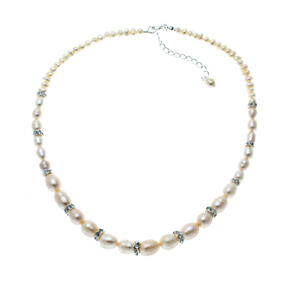 Grace freshwater Pearl and Diamante Rondelles Necklace-Starlet Jewellery